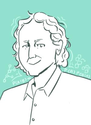 Portrait of Josh Tenenbaum with symbols reflecting his research.