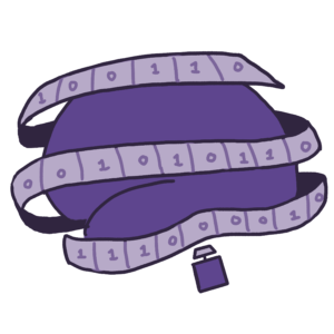 purple cartoon brain with tape wrapped around. Tape has 1's and 0's on it