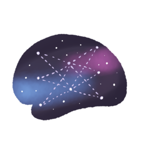 cartoon brain with a night sky background. Brain has stars, some of which are connected to each other