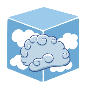 cartoon brain made of clouds, with a background of clouds