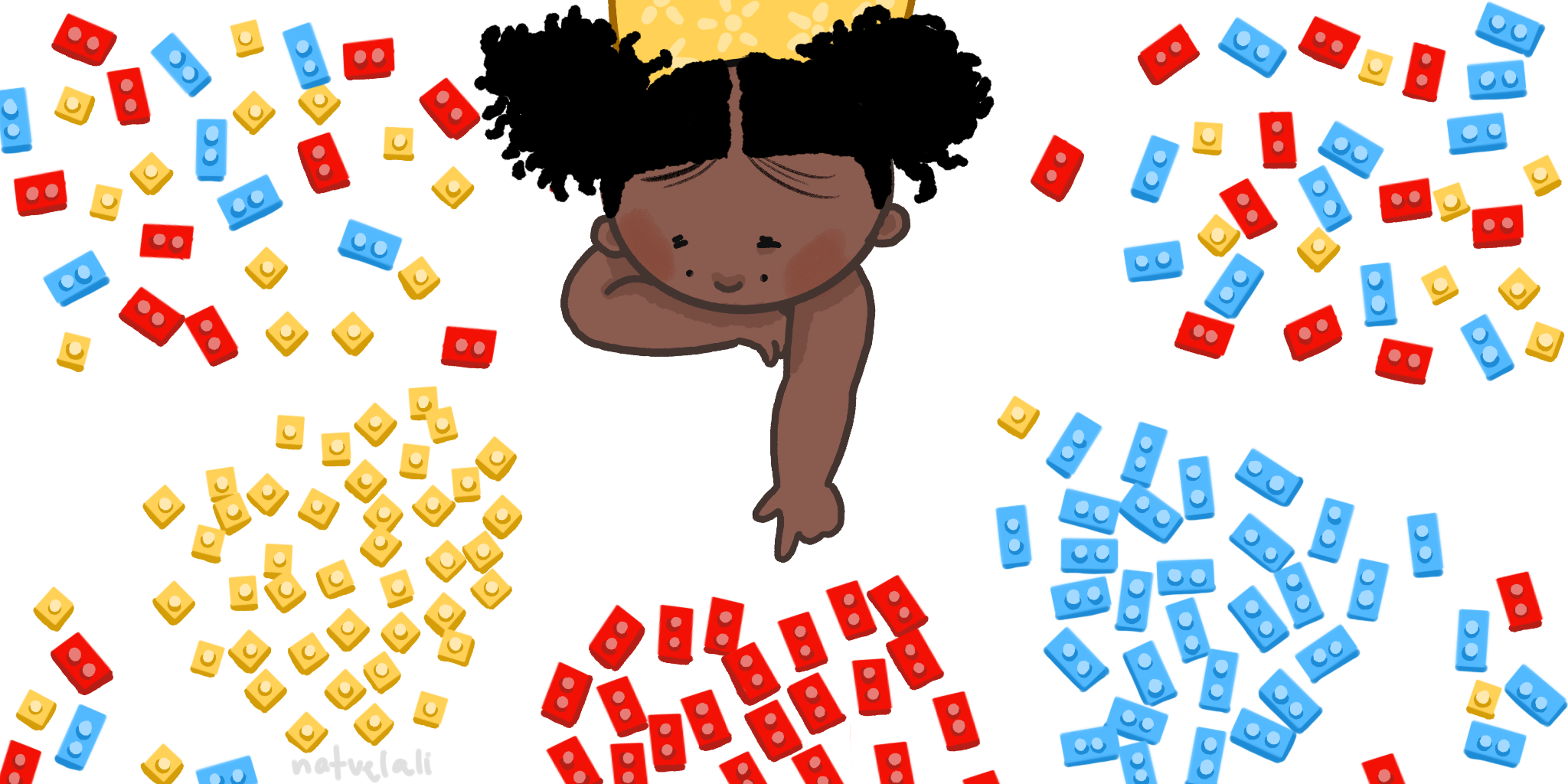 a girl is surrounded by legos, most of which are grouped together by color