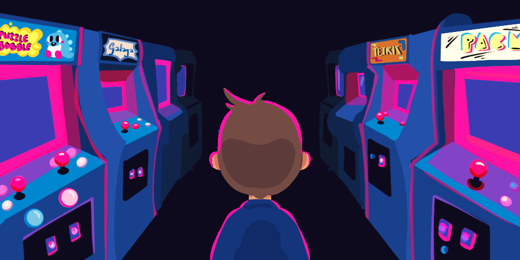 the back of a boy's head. He is starting down a dark hallway lined with arcade games on both sides
